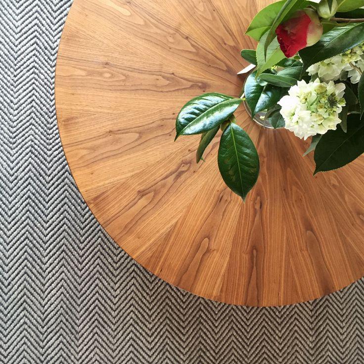 Simon Ancher Studio walnut sunburst coffee table and herringbone weave Armadillo & Co rug