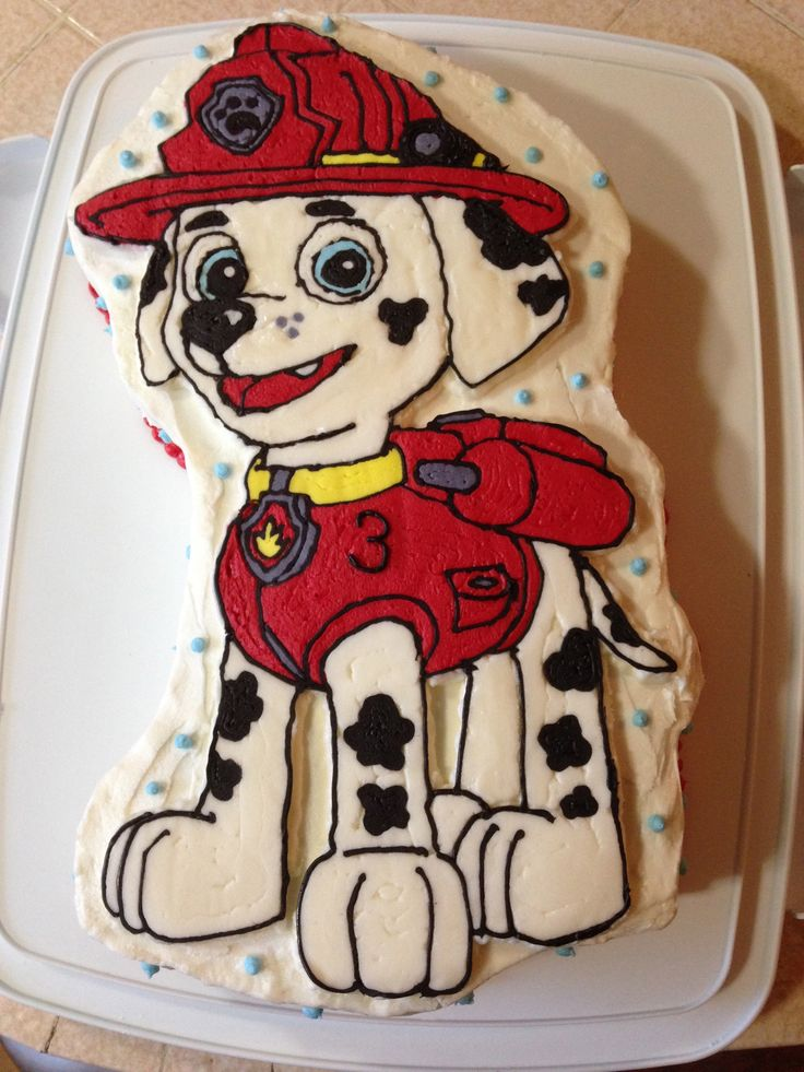 Paw Patrol Marshall Birthday cake, for my son's 3rd Birthday.  I used the method where you trace a coloring page and transfer it on the cake.  Original pin: http://www.brasstacksandbasics.com/2011/08/super-fancy-cake-decorating-tutorial.html?m=1