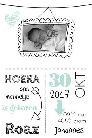 Geboortekaartje met leuke fotolijst en hip ontwerp met bijpassend kraamborrelkaartje in typografie stijl.
