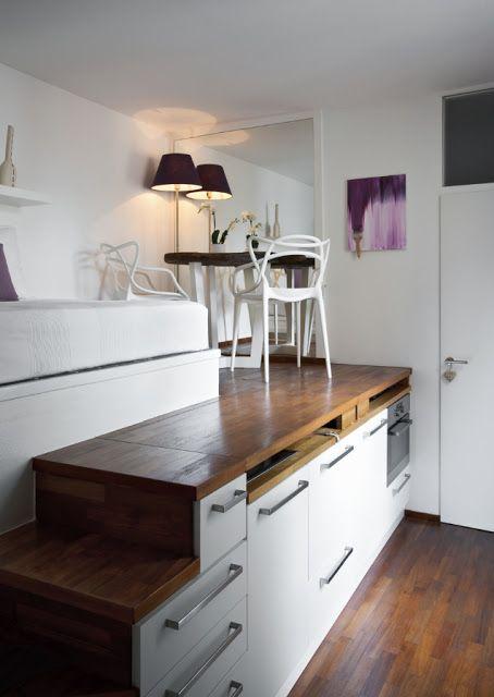 BOISERIE & C.: Living Small: miniappartamento monolocale di 15 mq