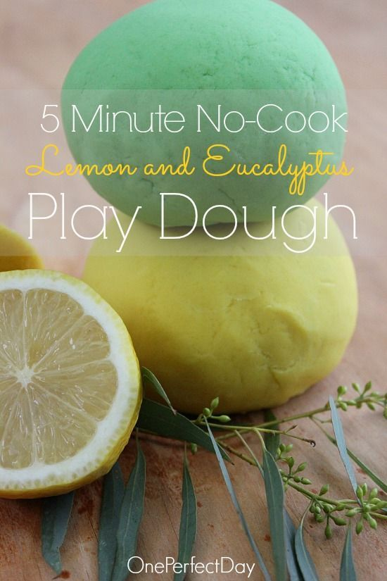 In preparation for Australia Day next week, I decided to create a batch of play dough in our national colours of green and gold. This lemon and eucalyptus no-cook play dough takes just five minutes to