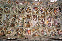 Fragmento de la bóveda de la Capilla Sixtina. Miguel Ángel Buonarrotti, Frescos de la Bóveda de la Capilla Sixtina (1508-12), el Vaticano.