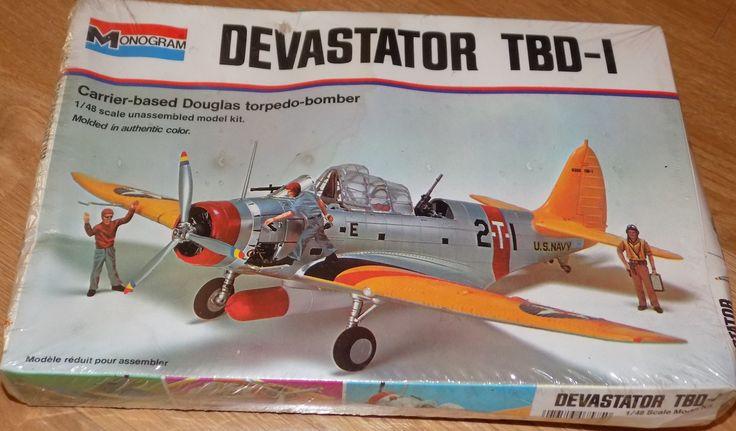 Complete, Mostly Sealed 1974 Monogram Model Kit of Devastator TBD-1 Plane 1/48 Scale by XtraThings on Etsy
