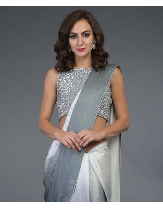9114c94c0e5b5c Grey Ombre Sequin Hand Embroidered Saree and Blouse in 2019 ...