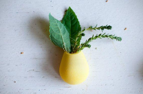 Wearable Planter Lapel Pin Lemon Yellow by wearableplanter on Etsy, $39.00