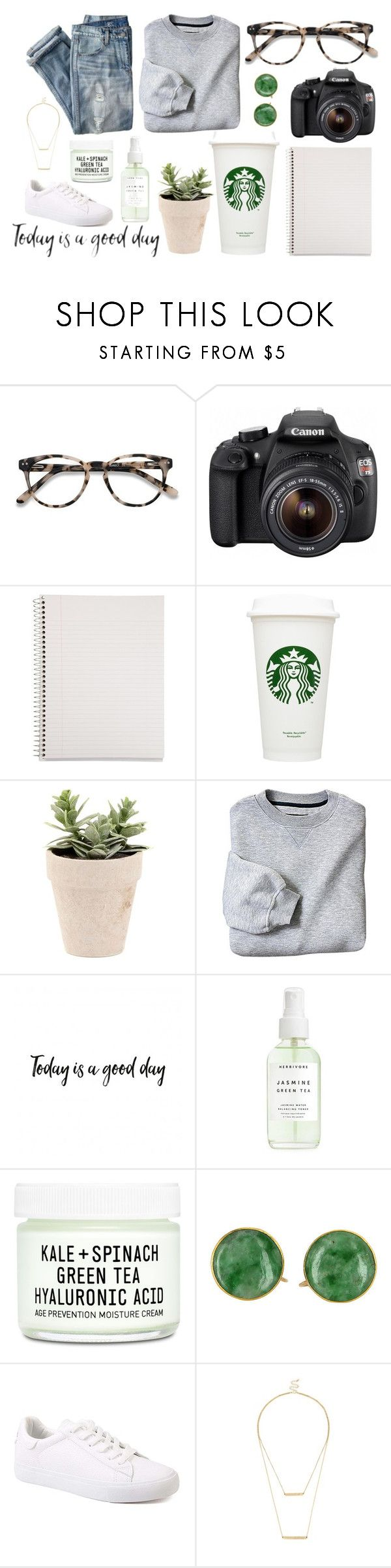 """""""You can't buy happiness, but you can buy Starbucks"""" by jordynfoulksie ❤ liked on Polyvore featuring EyeBuyDirect.com, Eos, Mead, Youth To The People, J.Crew and Sole Society"""