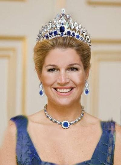 A horrible attempt at Photoshopping Tiara, earrings, and necklace on Queen Maxima!