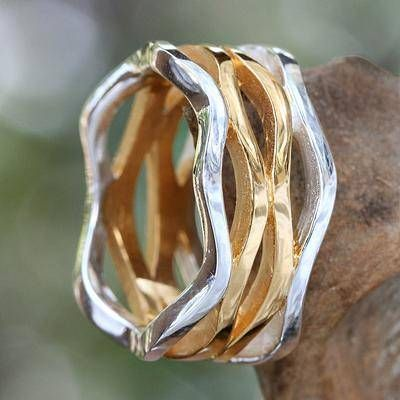 UNICEF Market | Gold and Silver Bands Ring - Sun & the Moon on Your Finger