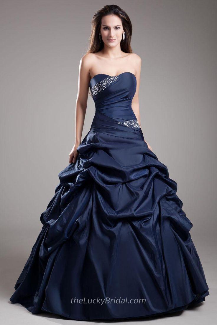Sweetheart Neckline Beaded Navy Ball Gown/Evening Dress