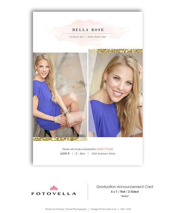 Senior Graduation Invitation - High School Graduation Announcement Template - 5x7 Card - BELLA - 1410