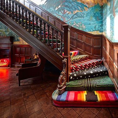 Multi-funky staircase steps, each step a different design. Uber inspiring!