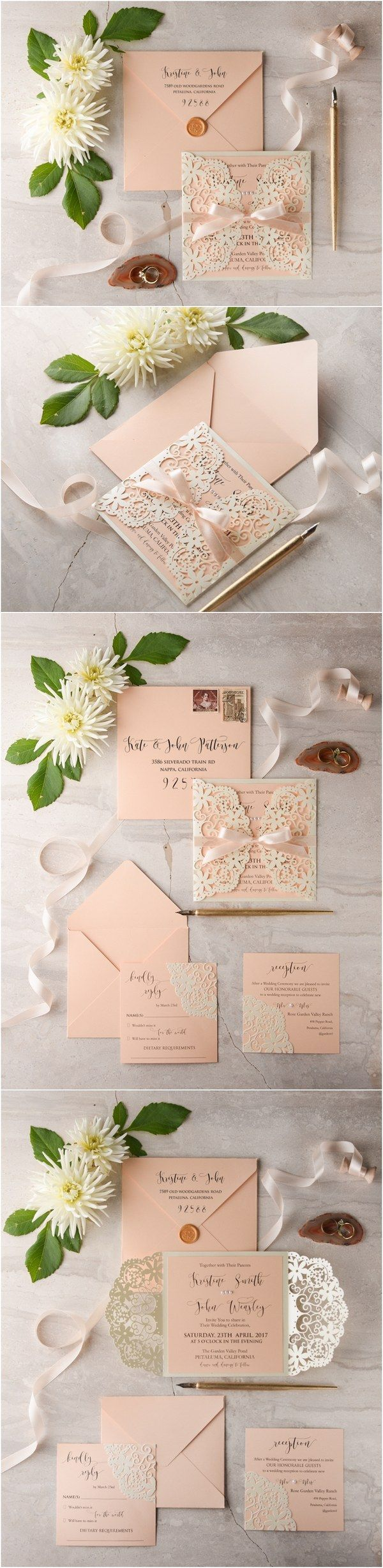 Peach and Ivory laser cut wedding invitations