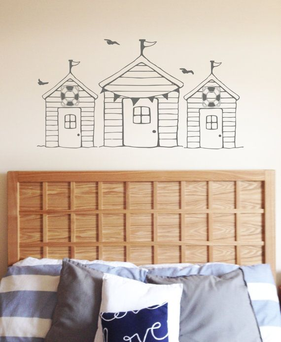 This quaint beach hut wall decal is hand sketched and digitally edited, creating an authentic painted on the wall effect and giving a subtle