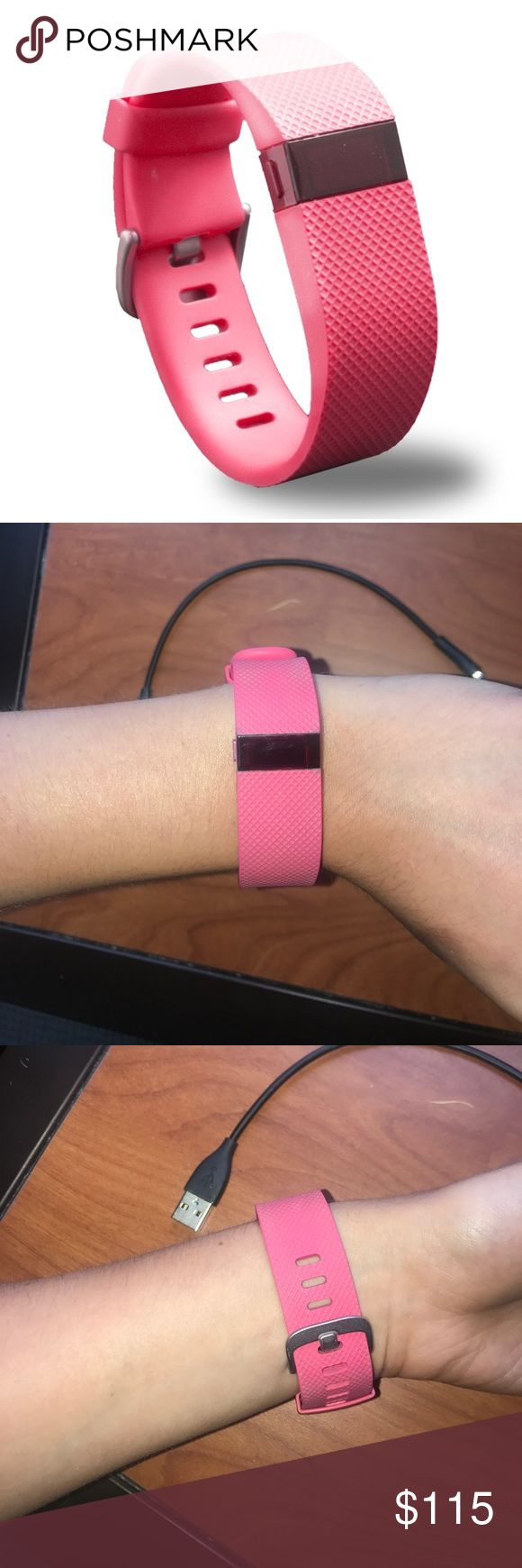 Fitbit charge HR pink Worn twice Fitbit charge HR small in pink. I got an Apple Watch shortly after ordering but I love this device a ton! fitbit Accessories Watches