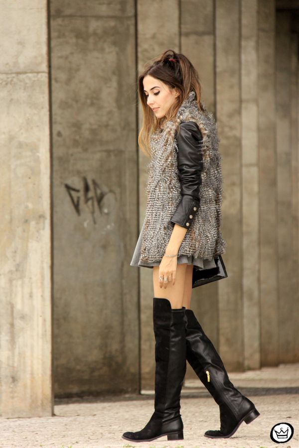 FashionCoolture -  fake fur vest and over knee boots