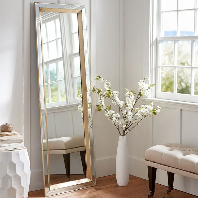 Floor Decor More: Tilting A Large Floor Mirror Against The Wall Not Only