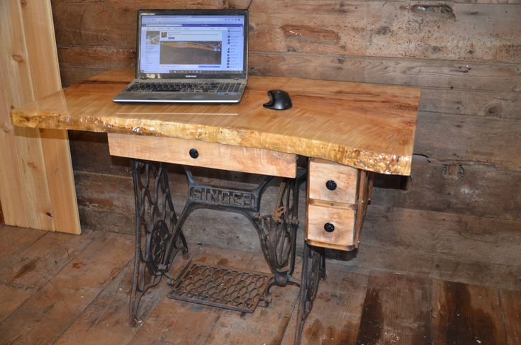 "For Sale This #handmadeinbc #oneofakind #chicboho computer desk is done. It Features a beautiful slab of Birds Eye Maple that measures 44 1/2"" X 22-24"" Deep. It has been coated with a scratch resistant resin that accentuates the wood grain with a mirror like finish."
