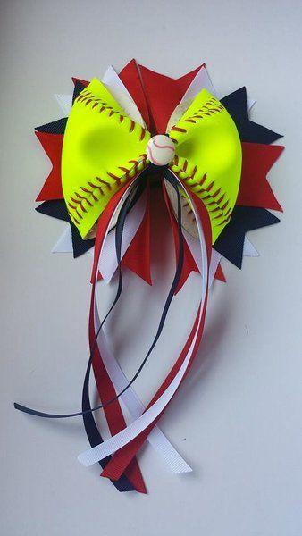 Softball Hair Bow with Tails - REAL SOFTBALL $13.50