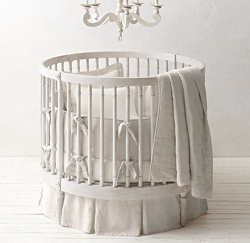Washed Organic Linen Round Nursery Bedding Collection | Baby Nursery |  Pinterest | Bedding Collections, Nursery And Round Cribs