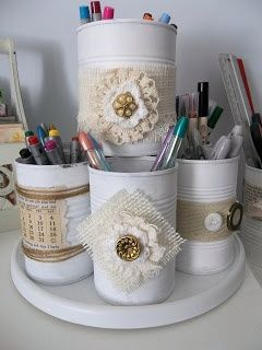 Vintage, Paint, and more....: Tin Can Therapy  embellished tin cans for organizatin