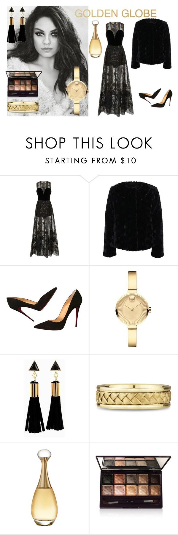 """#goldenglobes"" by hajer-bh ❤ liked on Polyvore featuring Elie Saab, Filippa K, Christian Louboutin, Movado, Christian Dior and By Terry"