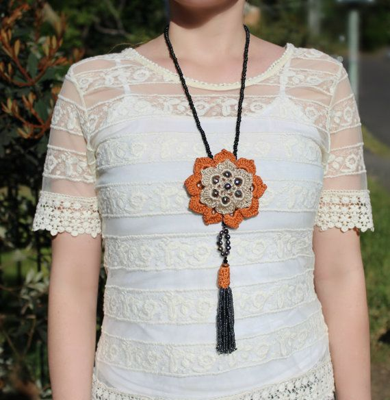 Tassel Necklace Silk Mandala Pendant by DesignIndividuelle on Etsy