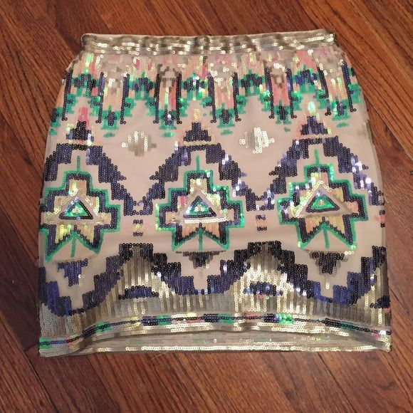 Aztec Sequin Skirt From Francesca's size Small Gently used Alya Skirts