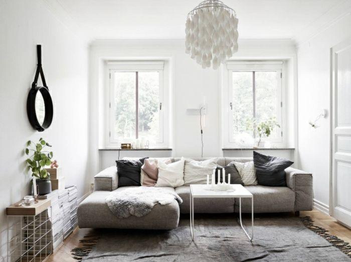 Deko Wohnzimmer Klein Im Skandinavischen Stil Grosses Sofa Als