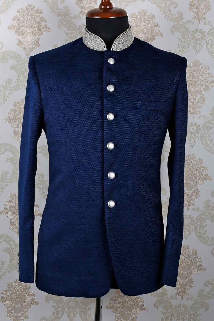 Blue #italian opulent slim fit suit with mandarin collar -ST389. FREE shipping world wide.