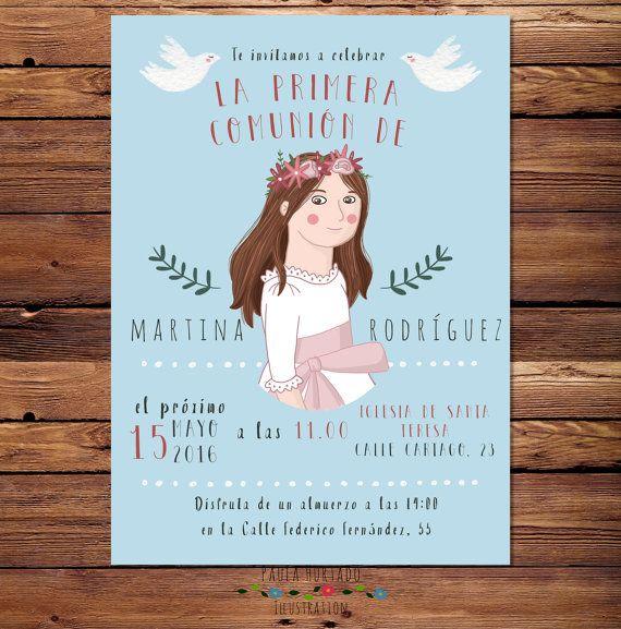 Invitaciones de primera comunión retrato por PaulaHurtadoIlustra  Invitaciones con un pequeño retrato! Más únicas imposible :)  #firstCommunionInvitation #Invitacionesdeprimeracomunión #customportrait