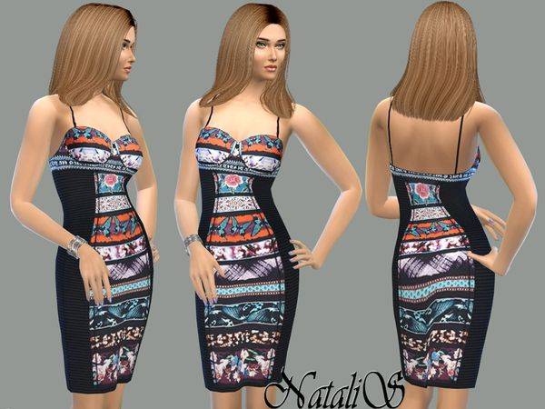 Created By NataliS NataliS_Printed panel bustier dress FA-YA Vibrant flora and fauna-print panels enliven this dress. Contrast ribbed side panels. Gorgeous flattering silhouette in a bustier-inspired...