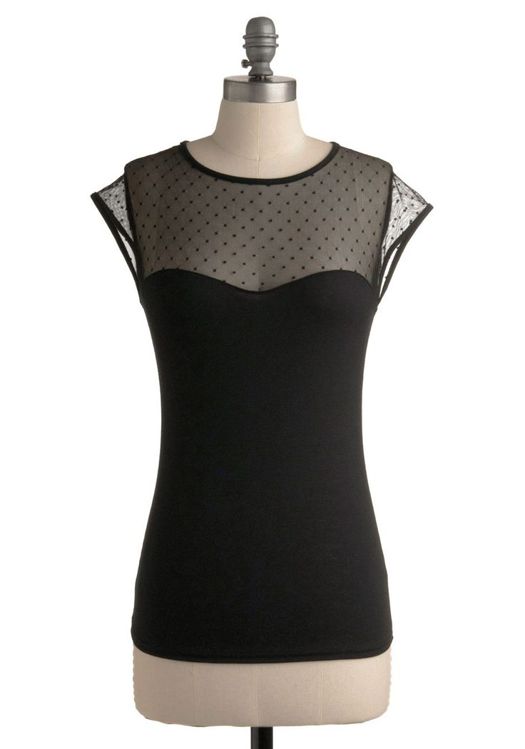 The Answer is Sheer Top | Mod Retro Vintage Short Sleeve Shirts | ModCloth.com