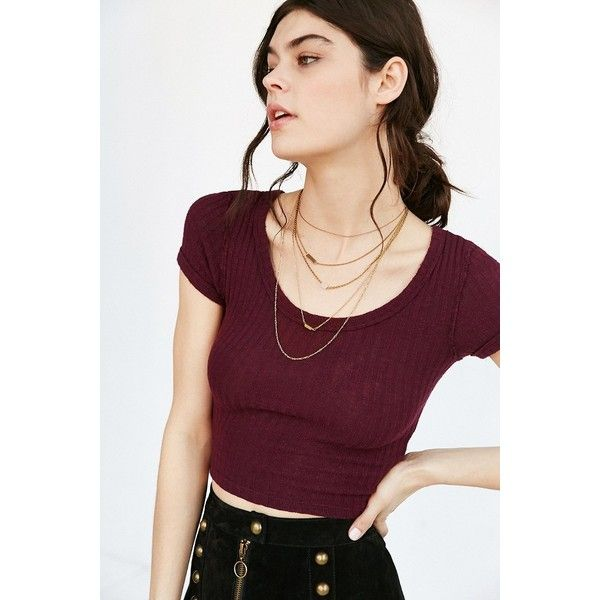 Truly Madly Deeply Cole Ribbed Cropped Top ($34) ❤ liked on Polyvore featuring tops, sweaters, maroon, ribbed crop top, cropped sweater, scoop neck crop top, maroon crop top and maroon sweater