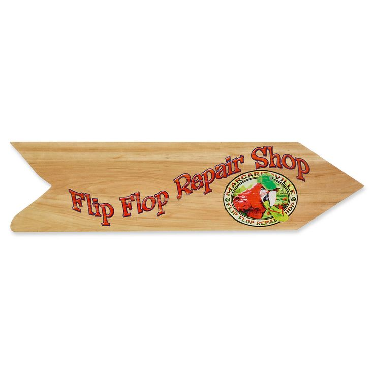 Margaritaville® Flip Flop Repair Shop Directional Sign Outdoor Wall Art in Tan