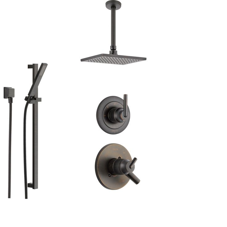 Delta Trinsic Venetian Bronze Shower System with Dual Control Shower Handle, 3-setting Diverter, Large Square Modern Ceiling Mount Shower Head, and Hand Held Shower SS175985RB