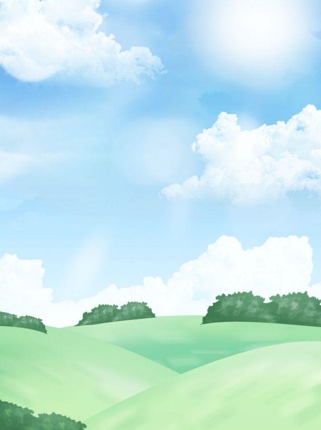 Mao Cheia Desenhada Cartoon Paisagem Ceu Azul Nuvens Brancas Prado Fundo Landscape Background Background Images Landscape