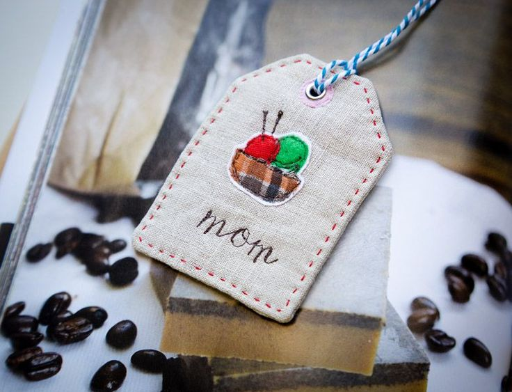 handmade fabric gift tag with applique and embroidery name