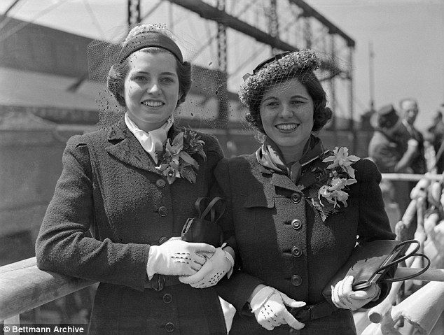 Eunice and Rosemary pictured aboard the SS Manhattan, sailing from New York in April 1938
