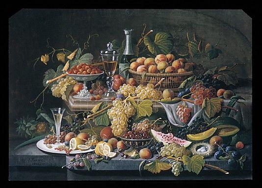 Still Life: Fruit by Severin Roesen (American (born Prussia), Boppard-am-Rhein 1816–72?) Date: 1855 Medium: Oil on canvas Dimensions: 36 x 50 in. (91.4 x 127 cm) Accession Number: 63.99
