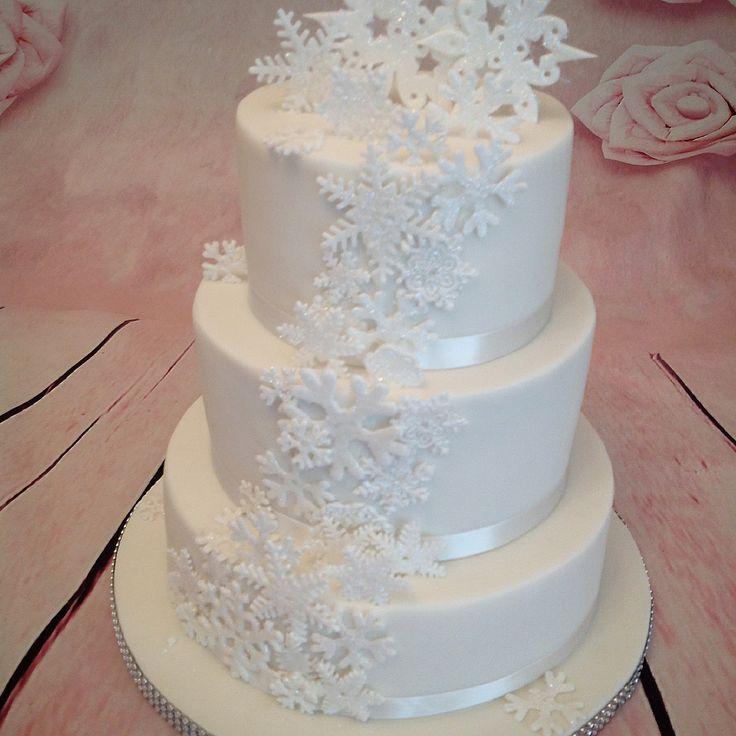 Winter themed snowflake wedding cake