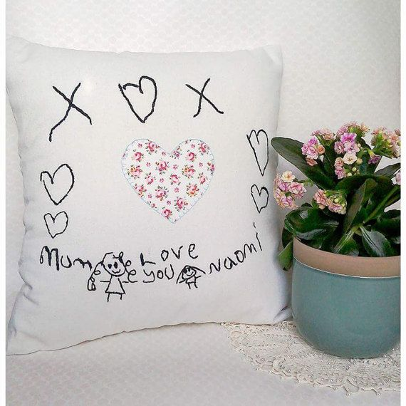 Mothers Day gift, Childs drawing, childs writing gift, PERSONALIZED cushion, hand embroidery, kids drawing, keepsake gift grandma, gift mum  Can you imagine your childs unique and creative drawing, beautifully hand embroidered onto an heirloom quality cushion? At Love Heart Lane I create high quality, hand embroidered pieces from your childs drawings; these make a beautiful keepsake to truly treasure.   My Inspiration: One day my daughter came home from school with a beautiful drawing for…