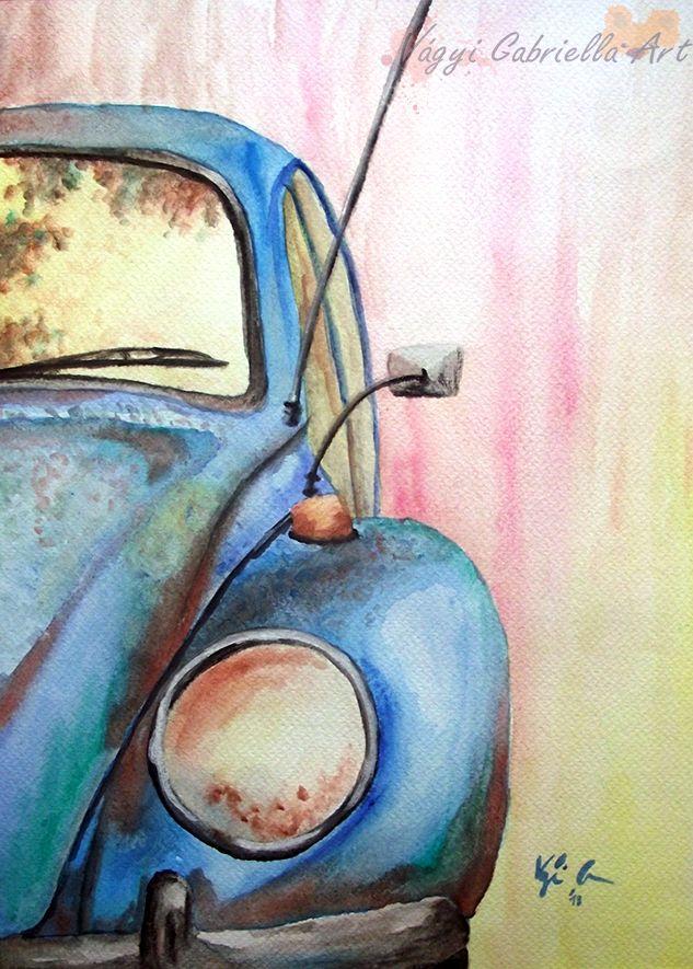 Kicsi kocsi című akvarellfestmény - Alkotásaim - Vágyi Gabriella ART #art #painting #akvarell #aquarell #car #bogárhátú #beetle #blue