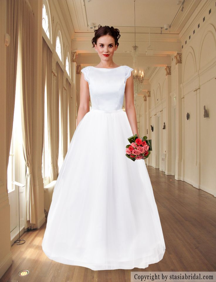 Modest wedding dress with sleeves, wedding gown
