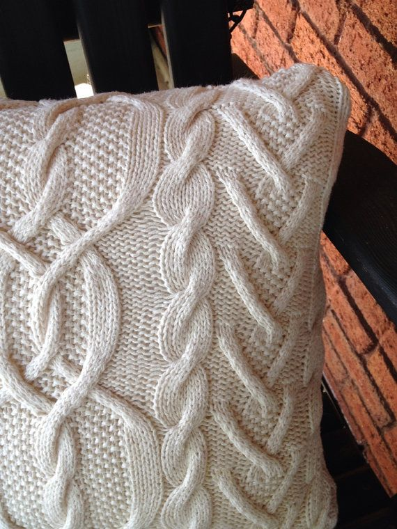 Cable knit sweater pillow cover ski lodge cabin by MorningTeaRose