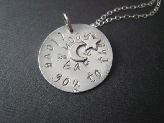 I love you to the moon hand stamped sterling by stampedjewellery, $42.00