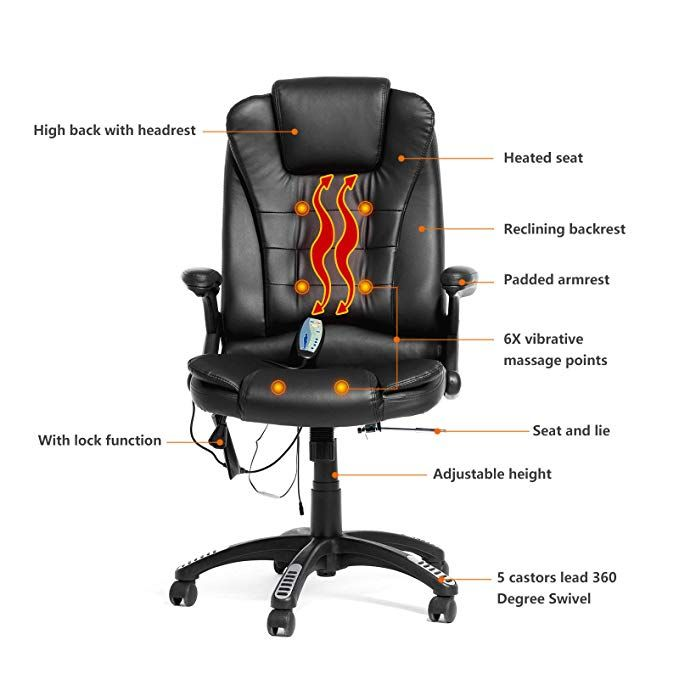 Amazon Com Mecor Heated Office Massage Chair High Back Pu Leather Computer Chair W 360 Degree Adjustable Heigh Office Massage Chair Office Chair Massage Chair