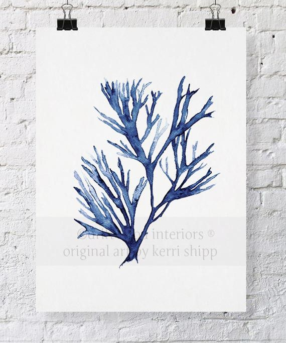 Suggested art work for master bedroom Seaweed V in Denim from Driftwood Interiors