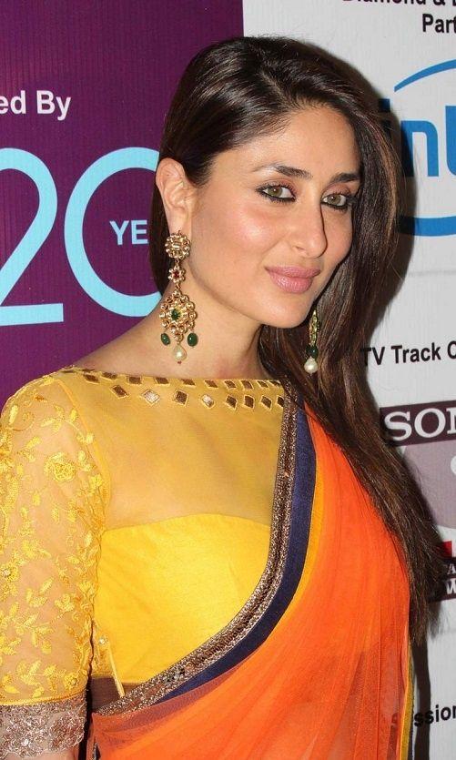 Kareena Kapoor in beautiful orange designer plain netted faux georgette saree ~ Saree