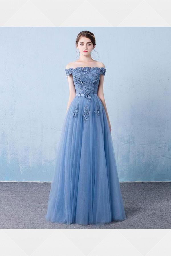 Customized Feminine Prom Dress Blue, 2019 Prom Dress, Bridesmaid Dresses A-Line,...