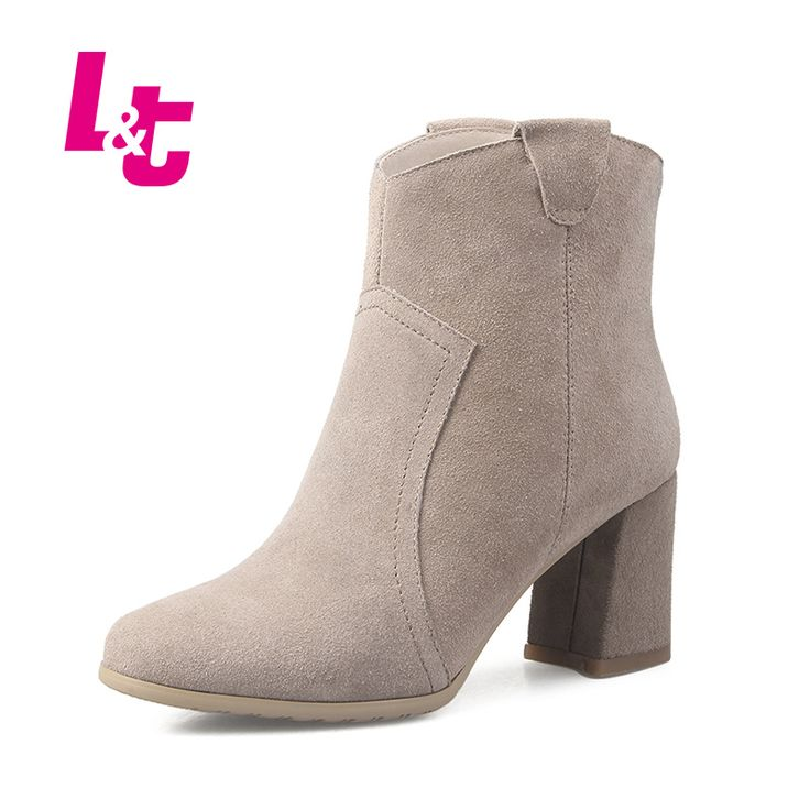 L&T women ankle boots suede Medium heel fashion western boots autumn/winter women shoes sexy  zipper ladies biker boots